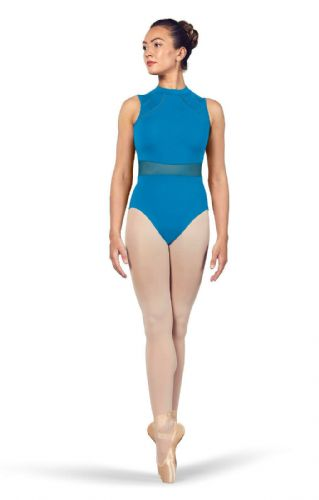 BLOCH Ladies Dance High Neckline Open Back Leotard Mesh Waist Solene L4932 Blue